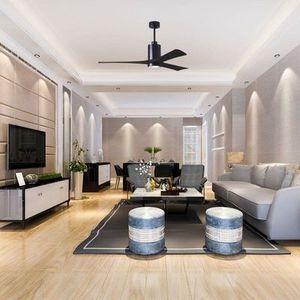 ventilateur de plafond avec 3 pales en bois et lumière led haut de gamme