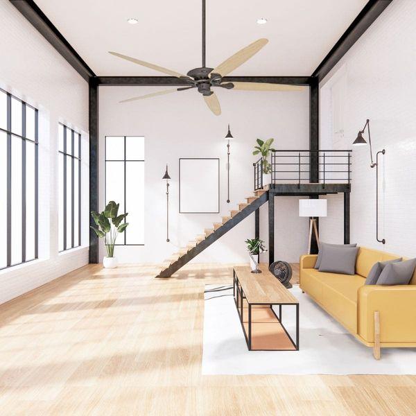 plafonnier ventilateur avec tige d'extension casafan royal classic pales en bois